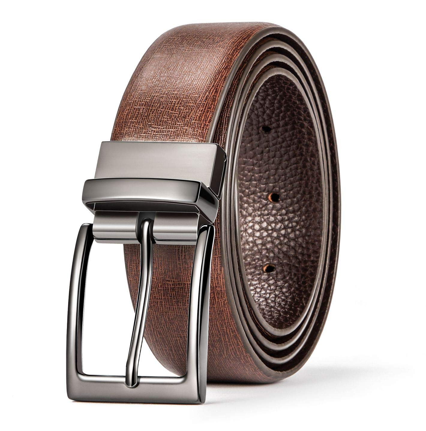 Okany Mens Classic Dress Reversible Leather Belt Rotated Polished Buckle with Beautiful Gift Box