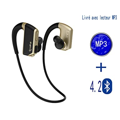 Bluetooth 4.2 MP3 auriculares inalámbricos con los deportes del casco anti-sudor IPX5 Bluetooth auriculares