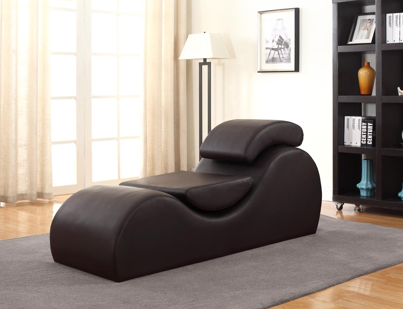 Container Furniture Direct Devon Collection Modern Faux Leather Upholstered Stretch and Relaxation Living Room Chaise Lounge, Dark Brown CL-14