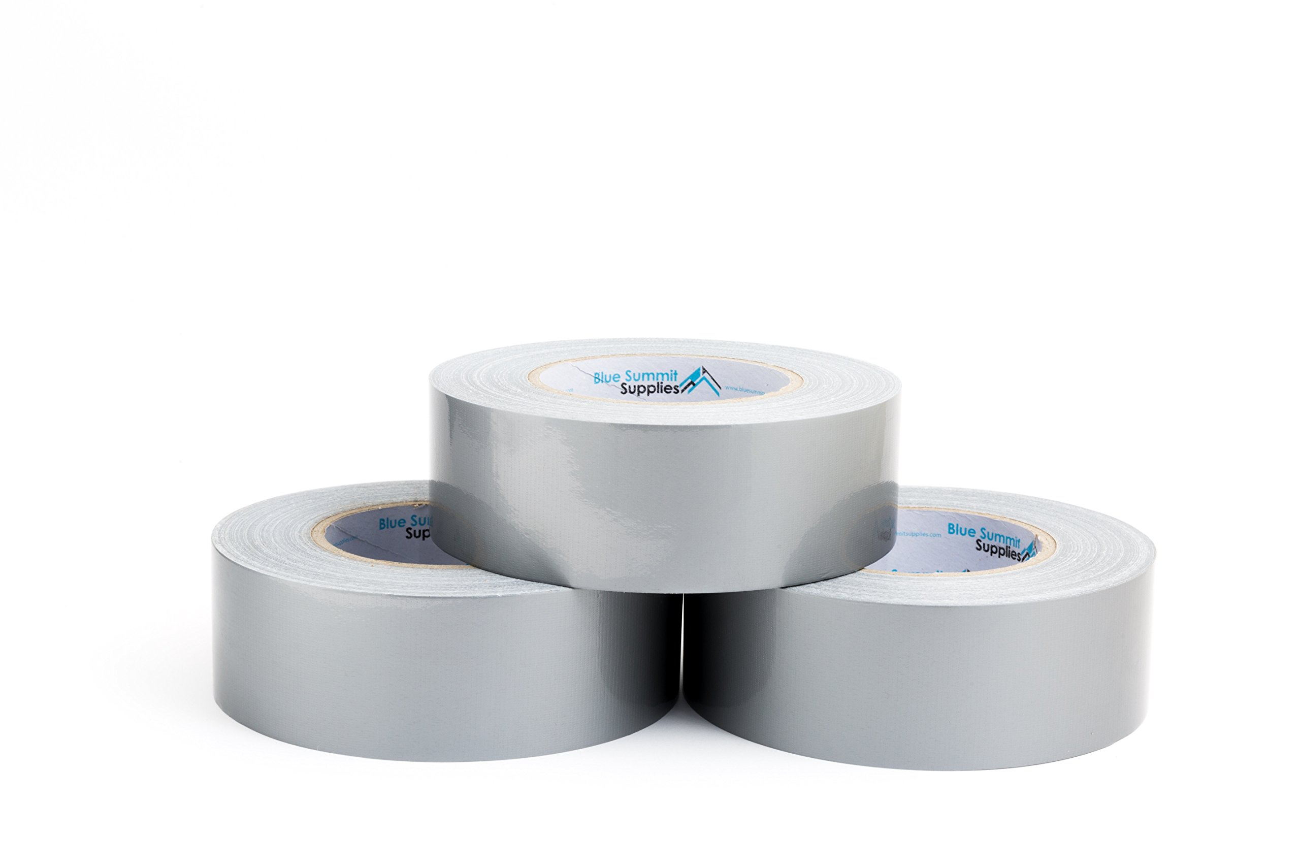 3 Pack Duct Tape, tear by hand design, silver, strong 7.3mil thickness, designed for home and office use with commercial grade strength, 60 Yard Length, 180 Total Yards by Blue Summit Supplies (Image #1)
