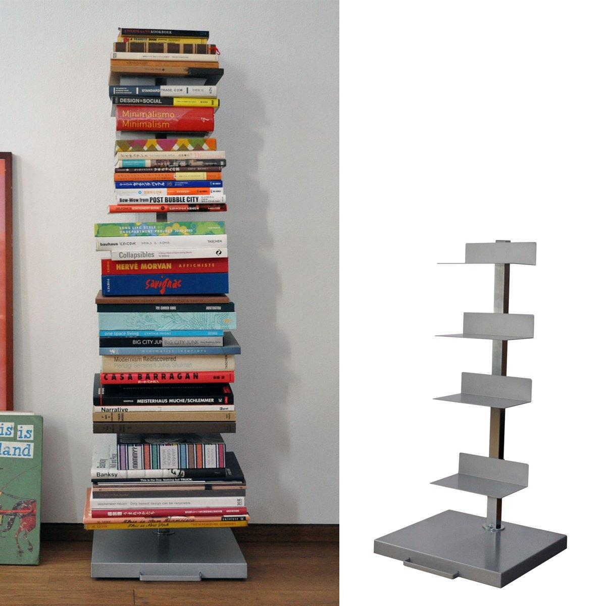 ブックタワー キャスター付 ディスプレイ 平置き 本棚 書棚 日本製 おしゃれ 金属 シンプル 幅30 (ハイタイプ) B07F659GFF ハイタイプ  ハイタイプ