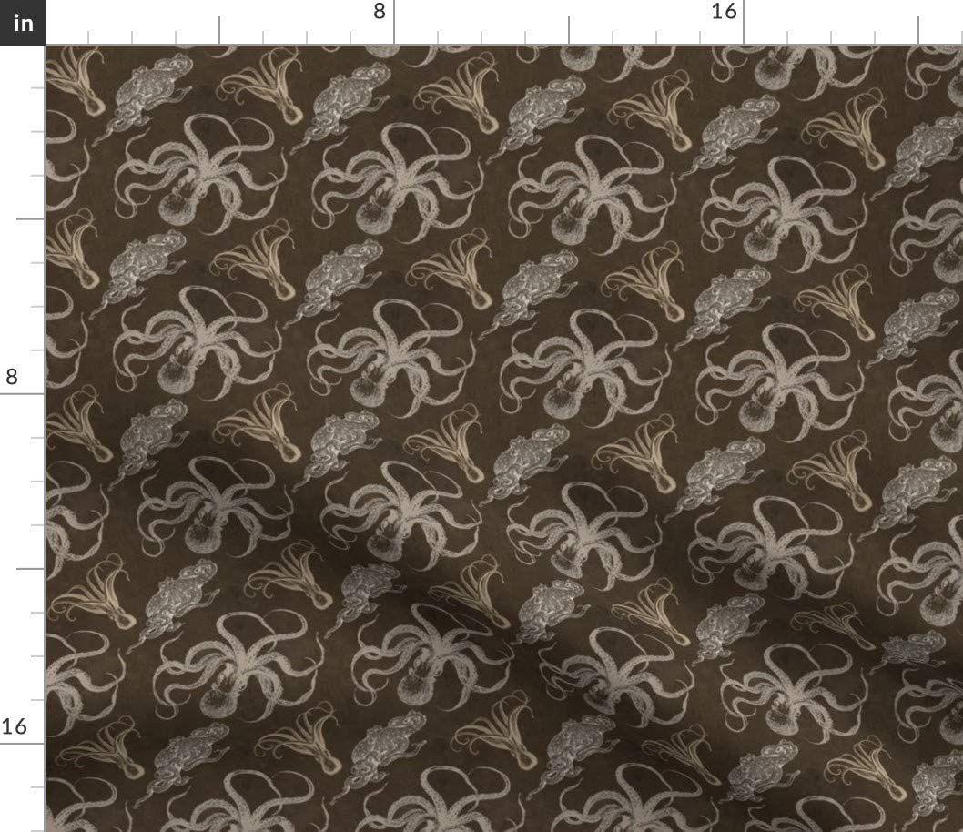 Spoonflower Fabric - Steampunk Octopus Print Ocean Sea Animal Printed on Petal Signature Cotton Fabric by The Yard - Sewing Quilting Apparel Crafts Decor