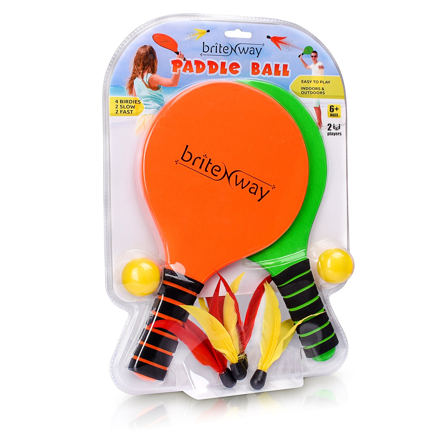 Amazon.com: briteNway Paddle Ball Game Bundle with 2 Wooden Racket Paddles, 2 Balls, 4 Shuttlecocks & 1 Carrying Bag – Comfy Grip, Durable Craftsmanship ...