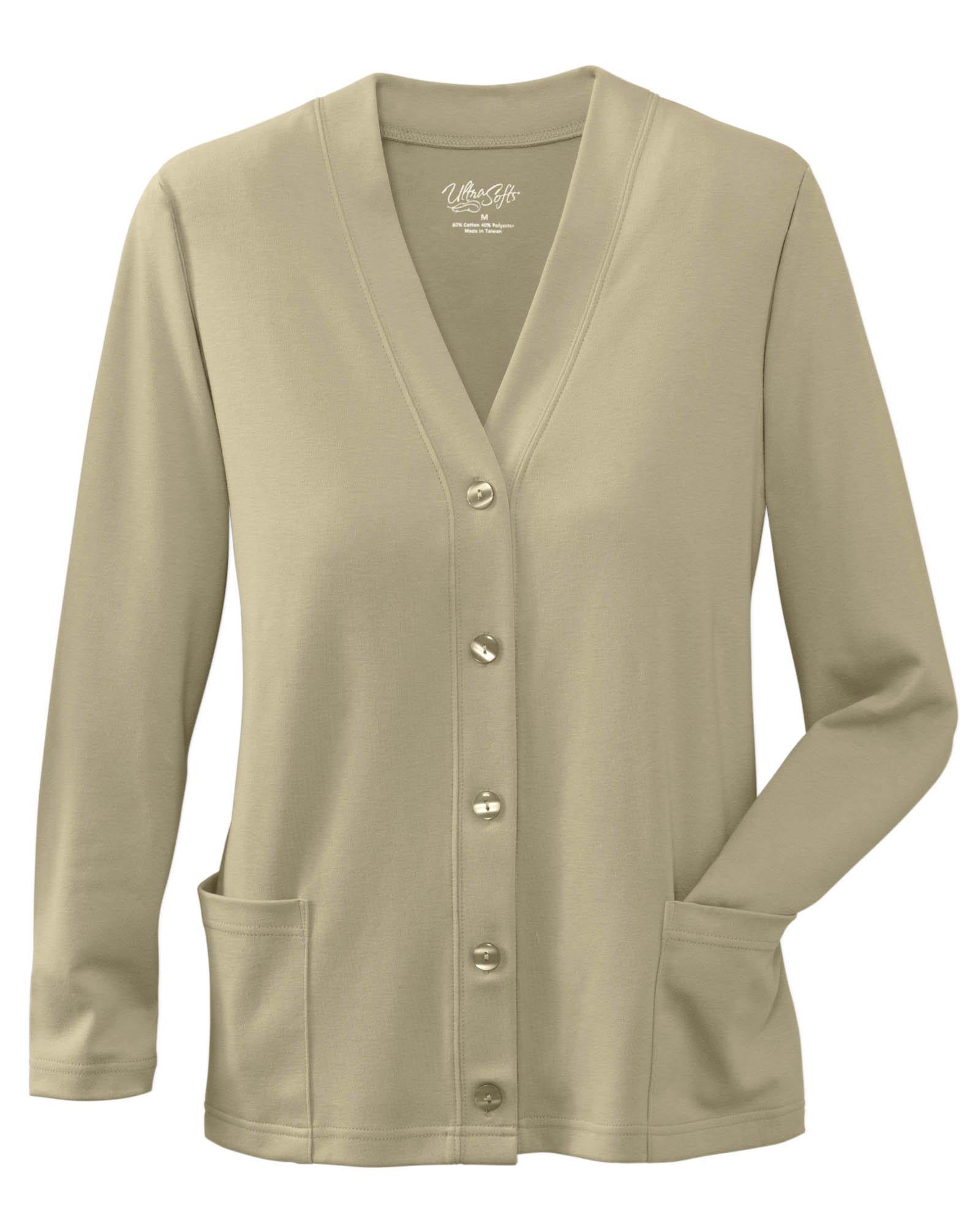UltraSofts Button-Front Knit Cardigan, Deep Sand, Medium