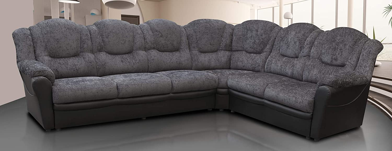 Texas Corner Sofa Large 6 Seats Chenille Fabric Suite Grey