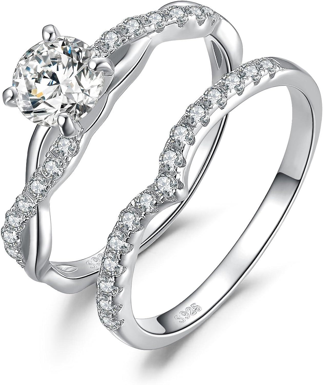 JewelryPalace Anillo infinito solitario 1.4ct circonio cúbico banda para boda compromiso nupciales Plata de ley 925