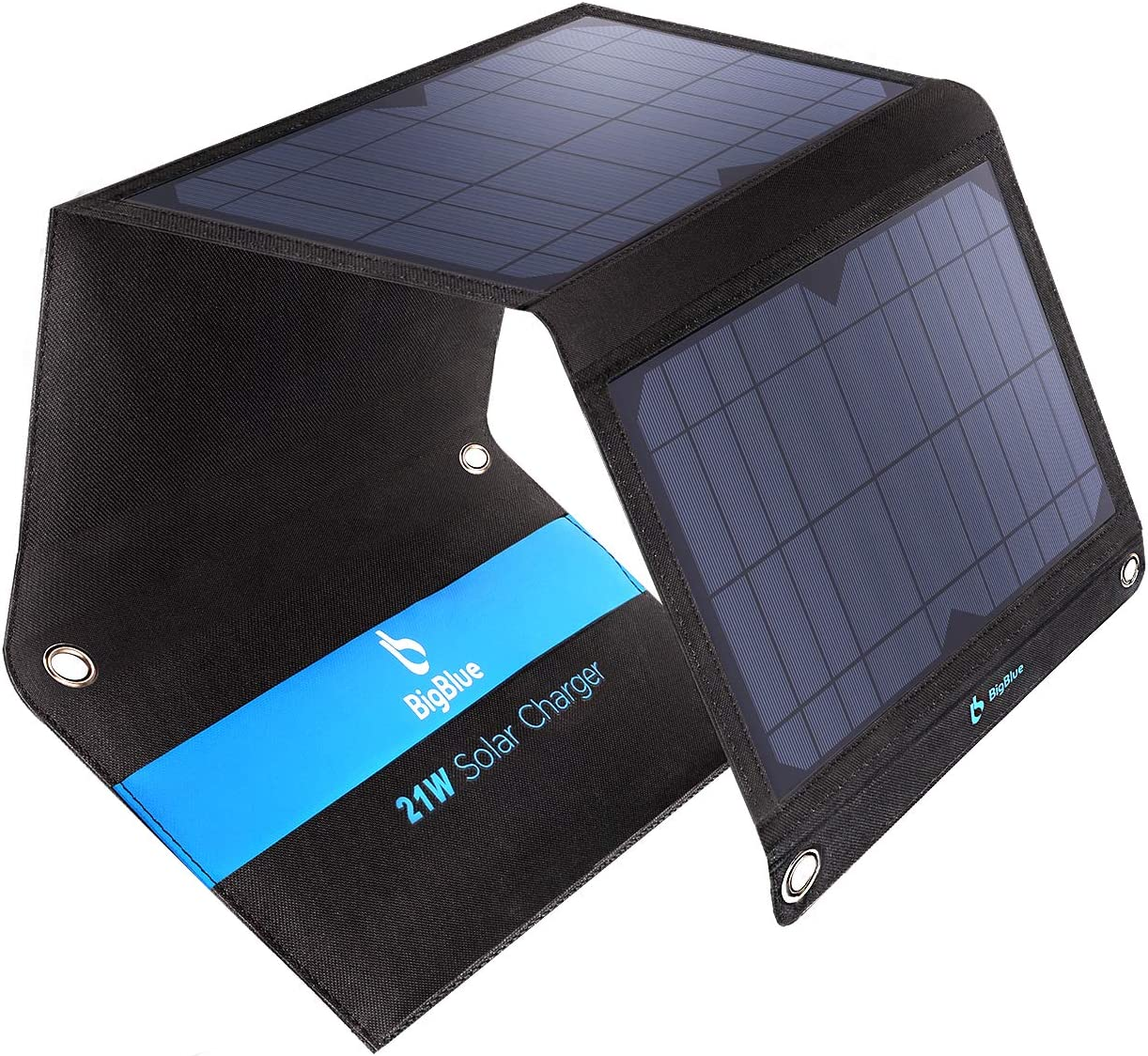 Solar Panel Charger, BigBlue 21W Phone Charger, Black