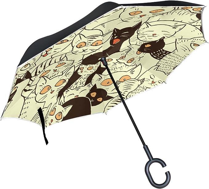 Parapluie invers/é Parapluie Double Couche invers/¨/¦e Parapluie Pliable pour Auto poign/¨/¦e en Forme Parapluie Mignon Huskies avec Roses Rouges Parapluie pour Homme et