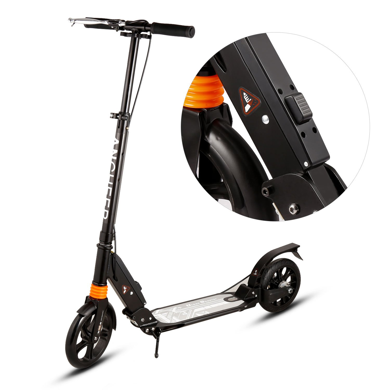 Ancheer A4 Adult Scooter Dual Suspension, Single Button Folding System, Adjustable Height Handle Bar, Lightweight kick scooter with Front and Disc brakes and 200mm big Wheels, 220 lbs Weight Capacity by ANCHEER