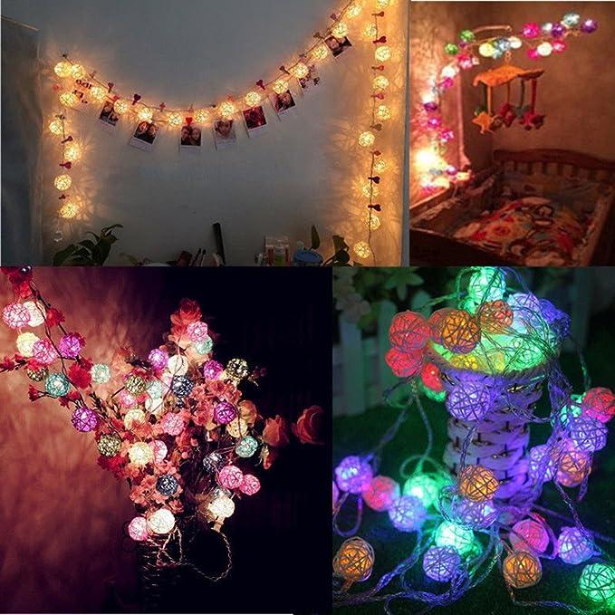 220V LED Lichterkette Flackern Rattan Ball 20 Leds Weihnachten Party Deko beste