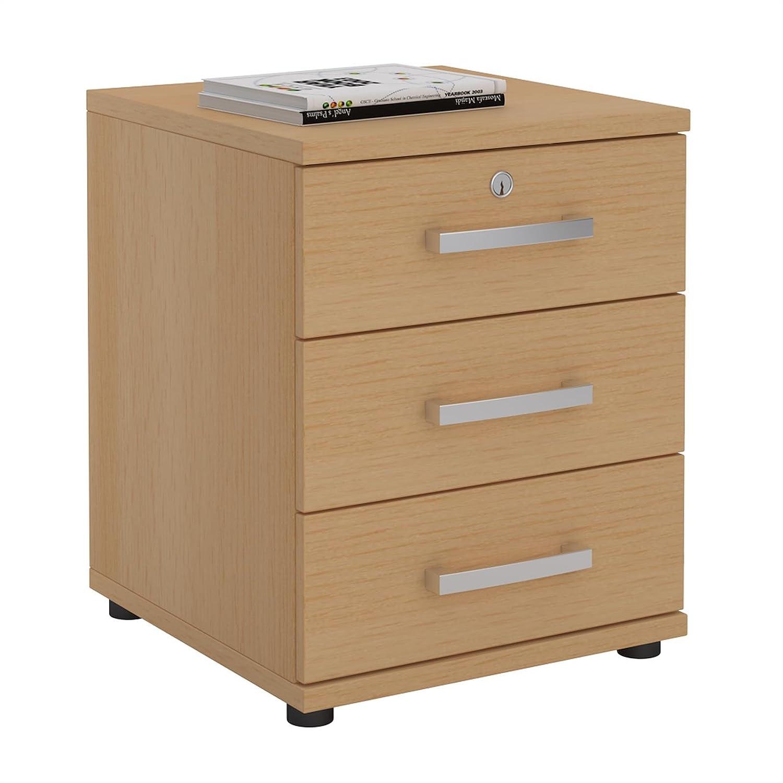 CARO-Möbel Bürocontainer Schreibtischcontainer Büroschrank Toronto, buchefarben, abschließbar mit 3 Schubladen, 44 x 58 x 45 cm