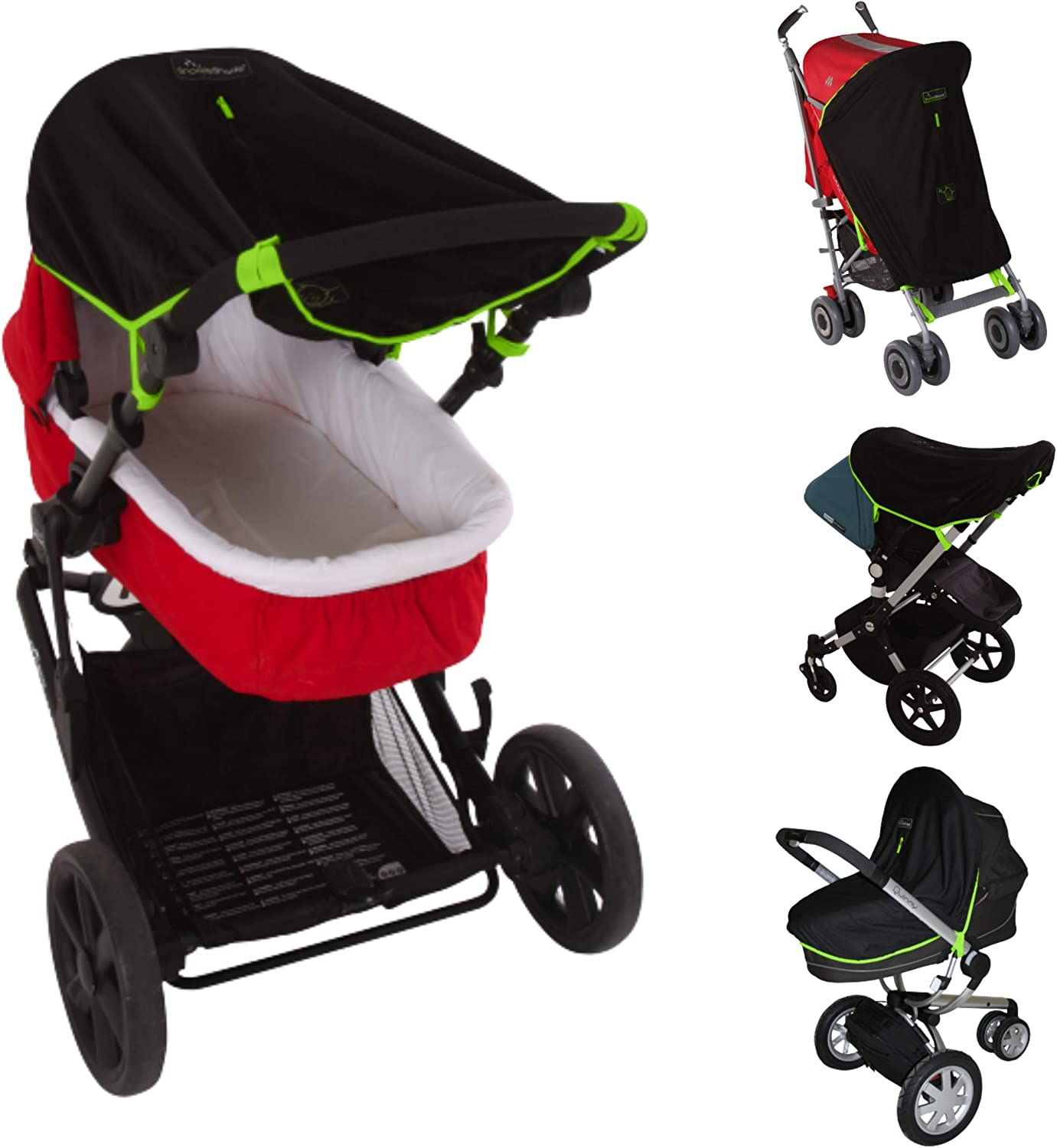 New Black Multi Shade 3 In 1 Sun Canopy Universal Pram//Pushchair //Fast Delivery