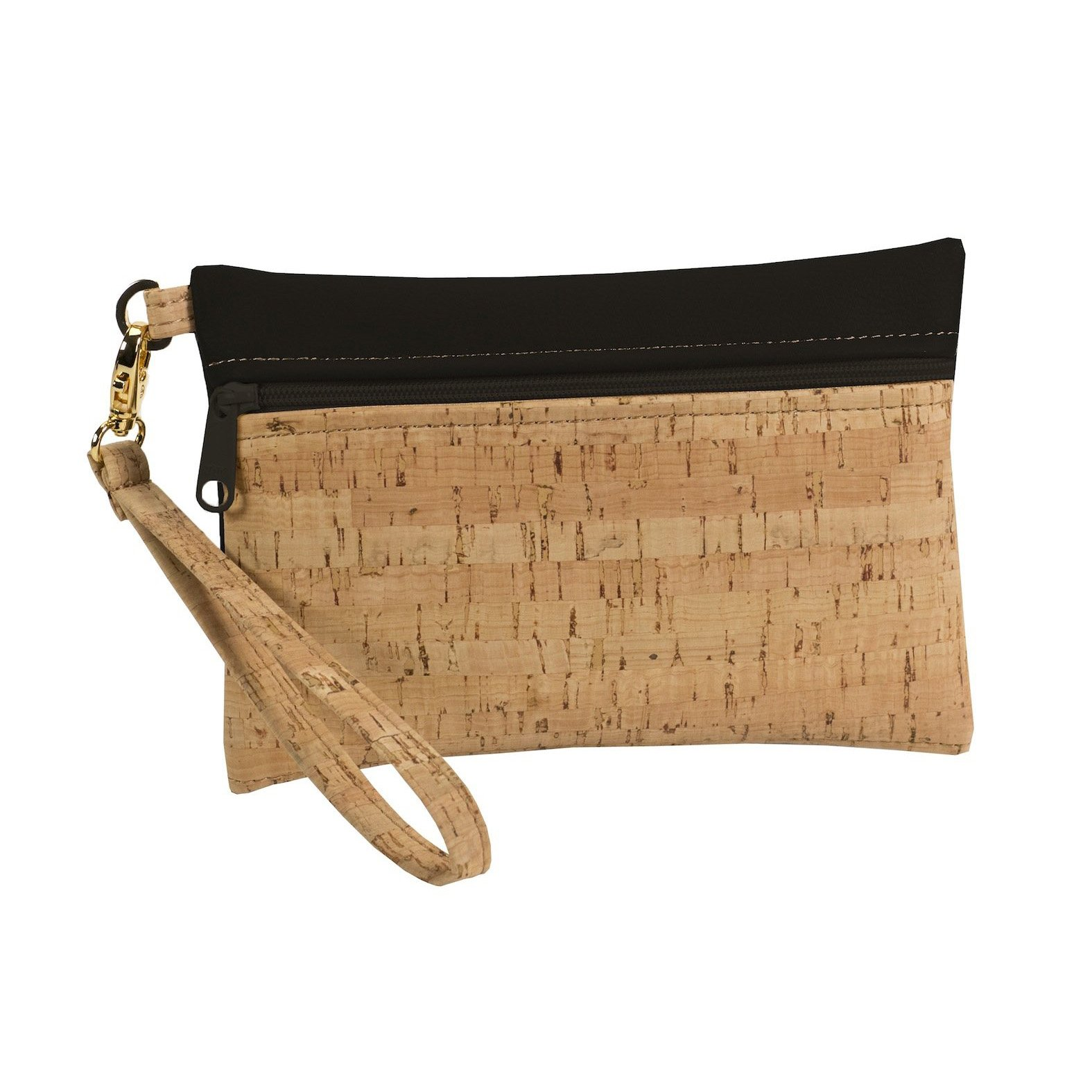 Be Ready Handmade Wristlet | Natural Cork + Black Faux Leather