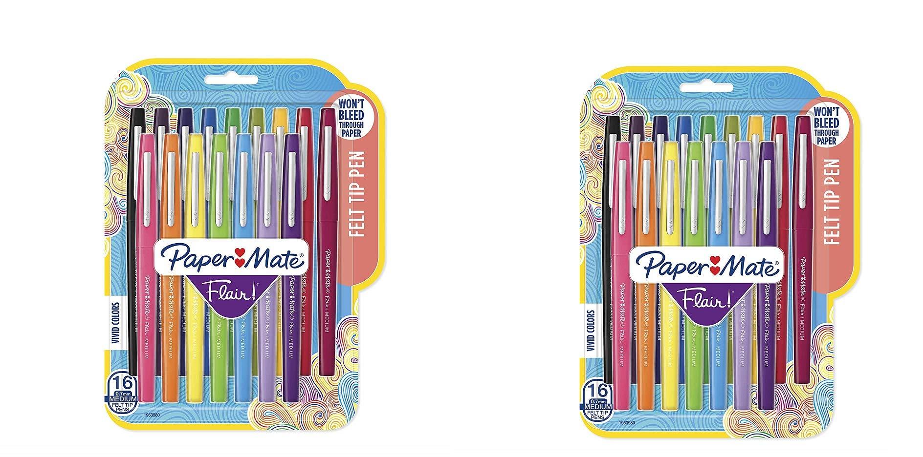 Flair Felt Tip Pens, Medium Point (0.7mm), Assorted Colors, 16 Count