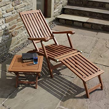 Trueshopping Steamer Sun Lounger Chair Ambleside Hardwood Patio Chair  Includes Really Useful Folding Side Table Part 24