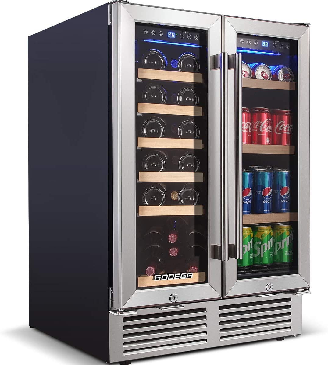 BODEGA 24 Inch Dual Zone Wine and Beverage Refrigerator,Built-In or Freestanding installation,2-IN-1 Independent Memory Temperature Control,Soft LED Light,Low energy,Hold 19 Bottles and 57 Cans
