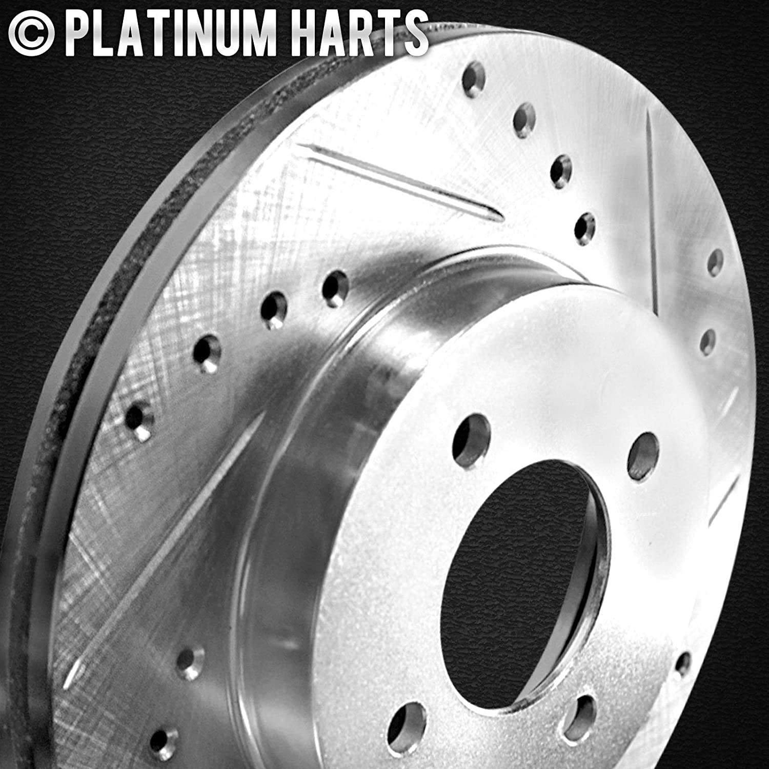 REAR POWER PERFORMANCE DRILLED SLOTTED PLATED BRAKE DISC ROTORS P34431