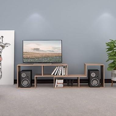 DEVAISE Wood TV Stand Console,2 Pieces Bookcase/Bookshelf(0.59  Thk, Oak)