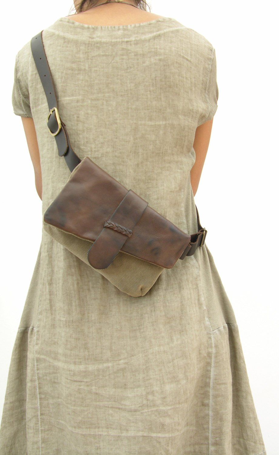 Leather and canvas Hip Bag, Bum Bag, Fanny Pack, Unique Design, Soft Leather, Braided Leather, Markets, Festivals