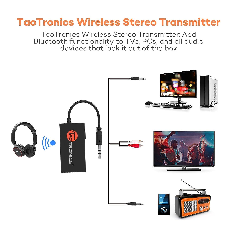 TaoTronics Trasmettitore Bluetooth Portatile Wireless Stereo Musica Trasmettitore