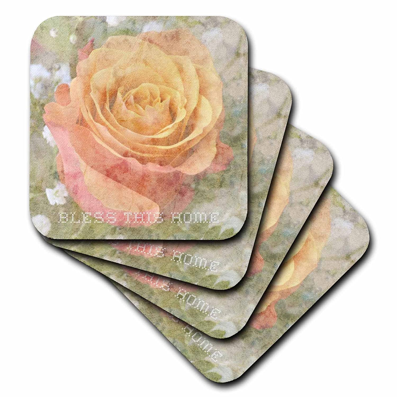 3dRose cst/_29396/_4 Peach Rose Bless This Home Inspirational Quotes Flowers-Ceramic Tile Coasters Set of 8