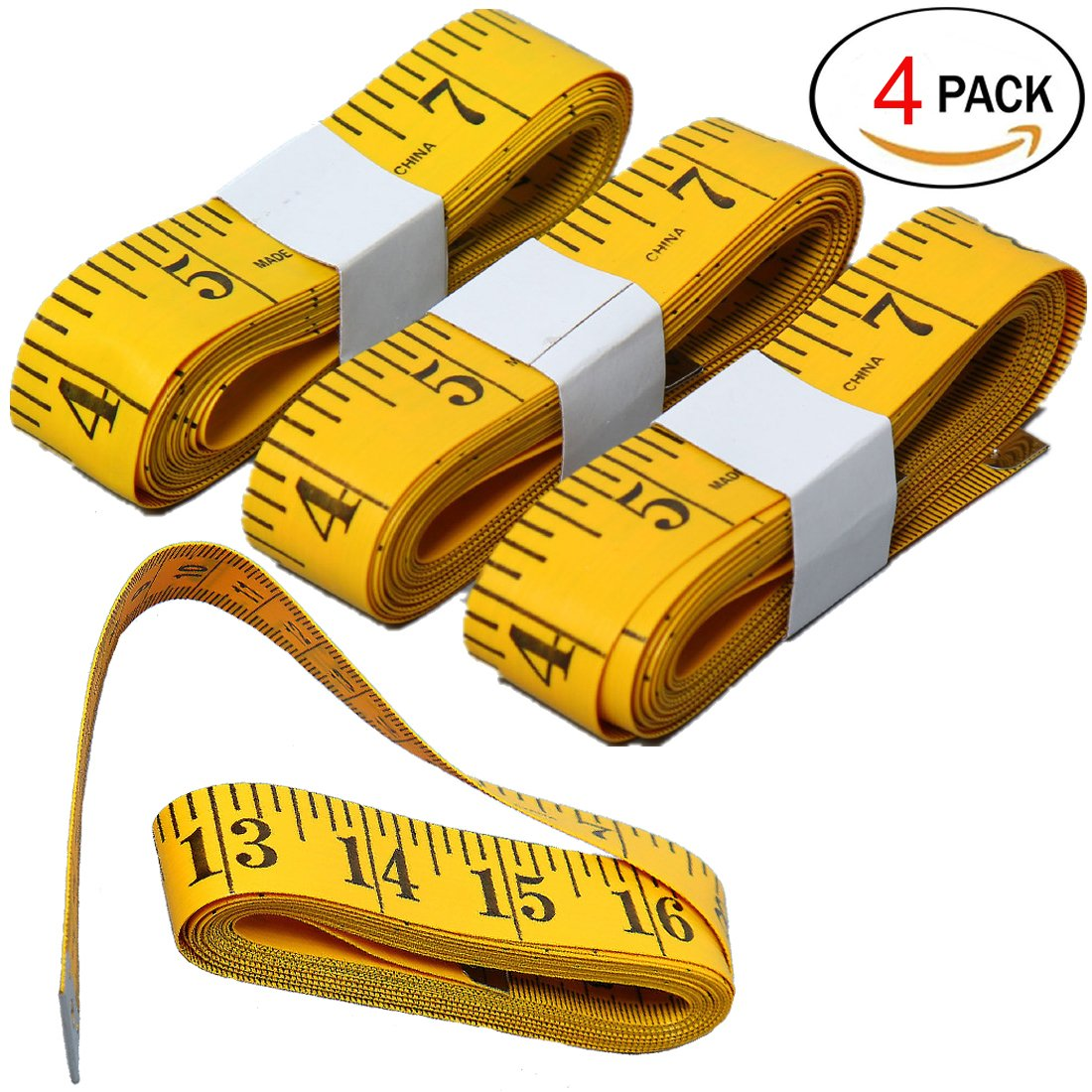 HSELL Pack of 4pcs 300cm/120inch Flexible Tape Measure Double-scale Soft Tape Weight Loss Medical Body Measurement Sewing Tailor Cloth Ruler Dressmaker Flexible Ruler Heavy Suty Tape Measure MS013