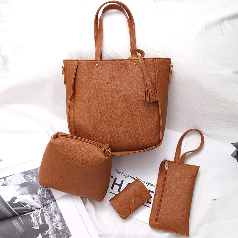 Amazon.com: Mnyycxen 4PC Fashion Women Handbag Shoulder Bags Four Pieces Tote Bag Crossbody Wallet Casual Bags 4 Set: Mnyycxen