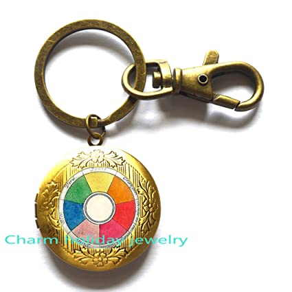 Amazon Com Color Wheel Locket Keychain Color Theory Artists Gifts