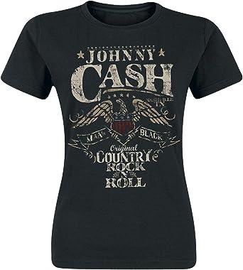 Johnny Cash Rock n Roll Mujer Camiseta Negro, Regular: Amazon.es: Ropa y accesorios