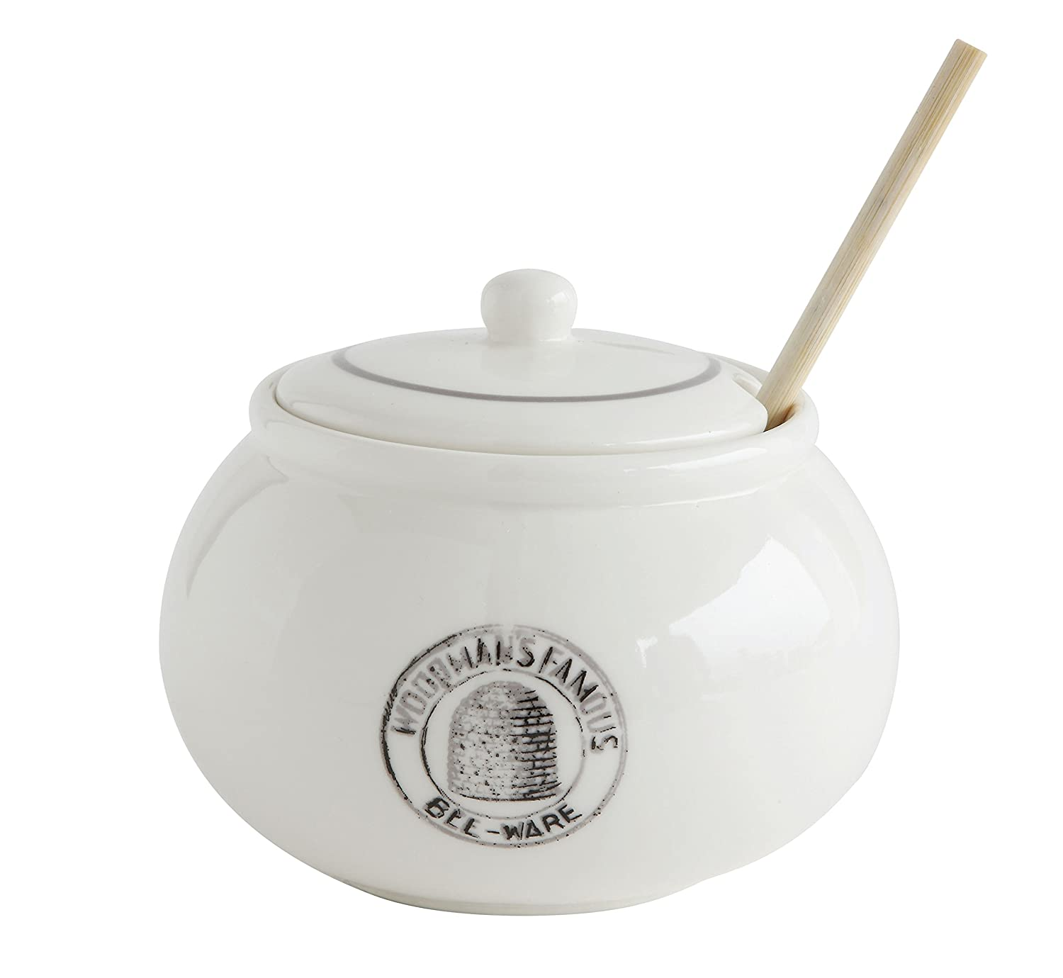 Creative Co-Op DA6817 3 Piece White Stoneware Honey Pot with Lid & Wood Honey Dipper