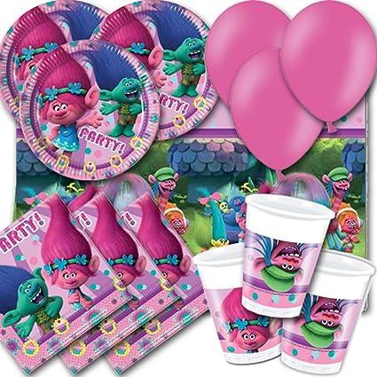 Signature Balloons Trols Pack Para Fiestas 8 Platos Vasos