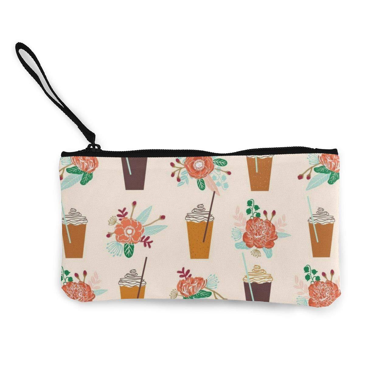 Coin Pouch Pumpkin Autumn Flower Girly Canvas Coin Purse Cellphone Card Bag With Handle And Zipper