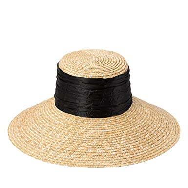 4d2c22bc6a1 Nafanio Womens Flat-Top Straw Hat Stalk Folds Decorated Sunshade Beach Hat  at Amazon Women s Clothing store