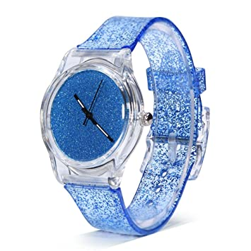 Sonew Relojes de cuarzo para mujer brillo reloj de pulsera en polvo caja de dial redondo