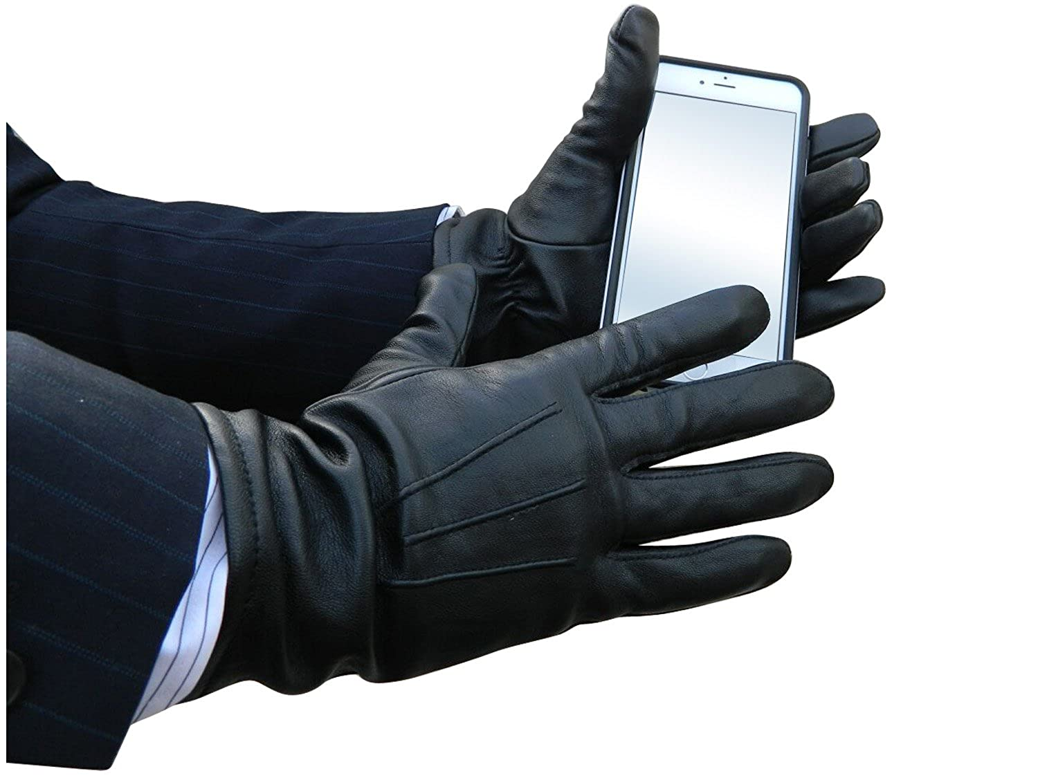 Mens fleece gloves xxl - Fownes Touchpoint Men S Cashmere Lined Black Stretch Lambskin Leather Gloves S At Amazon Men S Clothing Store