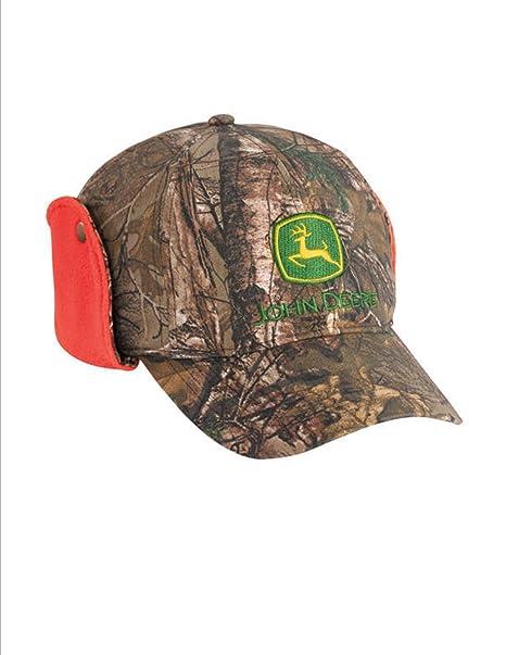 John Deere Realtree APX Camo Cap Orange Fleece Lining Ear Flaps Hat ... 89341adc057