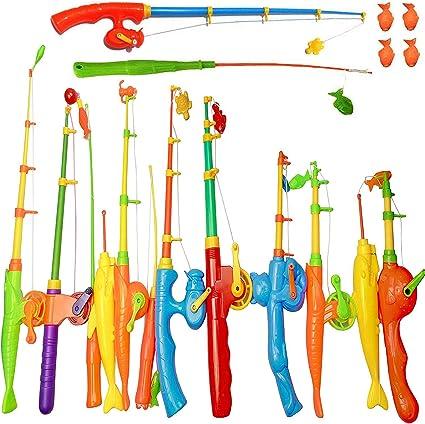 set of children/'s magnetic fishing outdoor indoor fun game fish toy 7 pieces