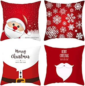 FZCRRDU KOCCAE 18 x18 Inch Christmas Throw Pillow Cover Set of 4 Holiday Decor Pillowcase Cushion Cover Square Decorative Pillow Cover for Christmas Décor at Sofa Couch Bed and Car