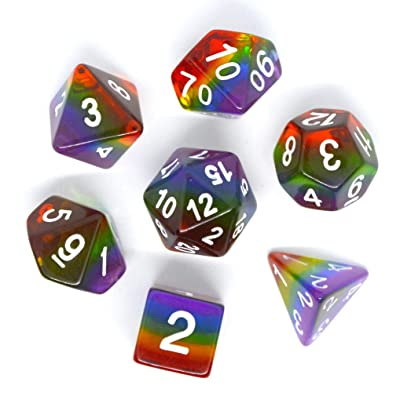 iMagitek Rainbow Polyhedral Dice Set for DND Dungeons and Dragons Role Playing Game: Toys & Games [5Bkhe1002611]