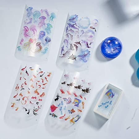 25 Sheet Resin Supplies Kit Resin Stickers Transparent Decorate Stickers for for