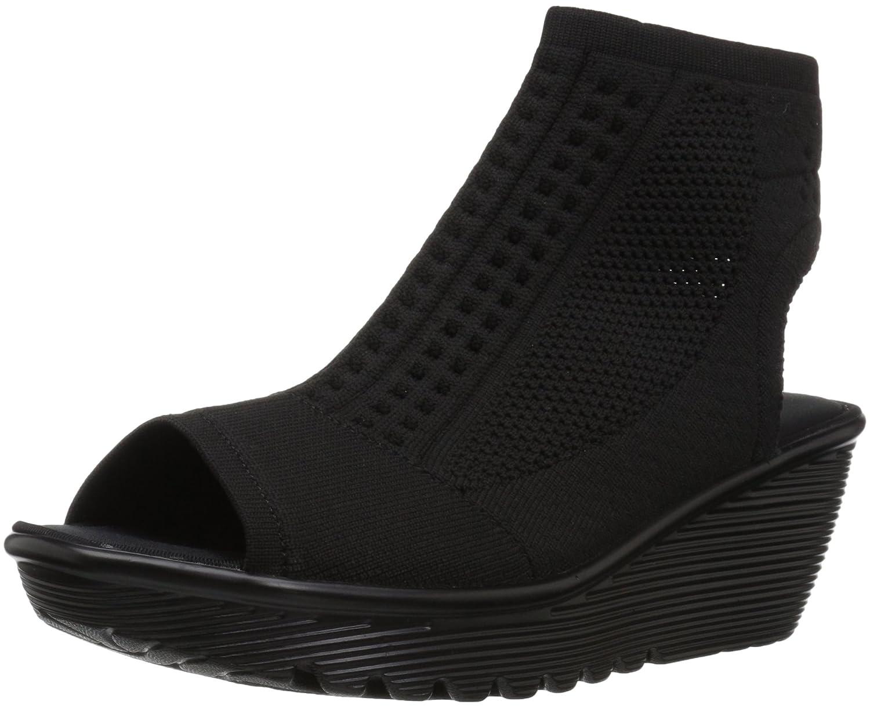 Skechers Women's Parallel-Tight Peep Toe Stretch Knit Wedge Sandal B07BGMLQ45 8.5 B(M) US|Black