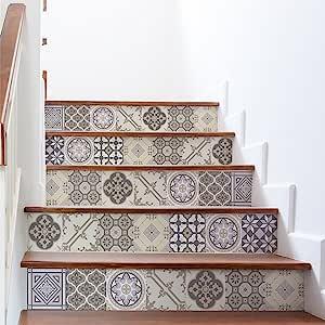 Stickers Adhesivos escalera carrelages | contremarche azulejos de cemento - Adhesivos contremarche carrelages | escalera cuadros de cemento adhesiva - Azulejos - 15 x 105 cm - 6 bandas: Amazon.es: Hogar