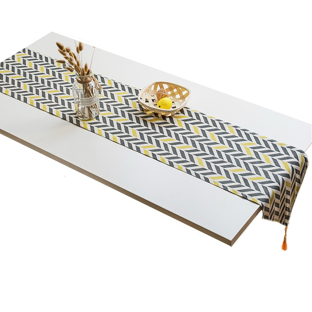 """Bettery Cotton Linen Modern Style Table Runner Table Top Decoration 12"""" x 48"""" Black and Yellow"""