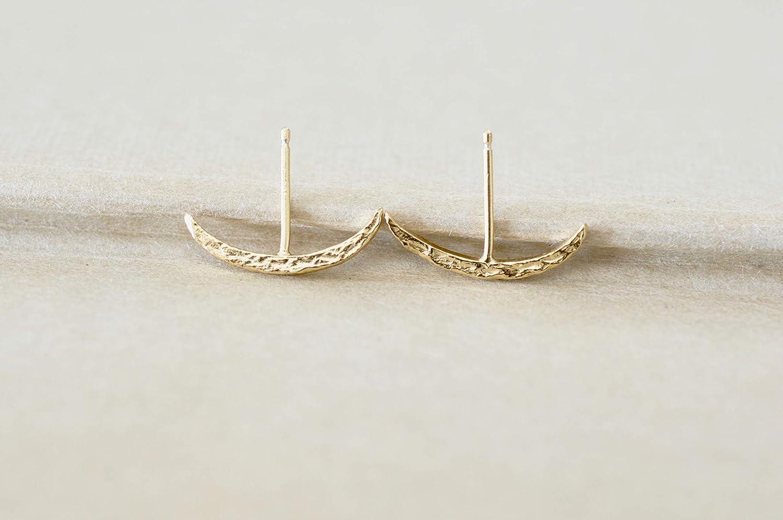 Crescent Moon Suspender Earrings in Gold