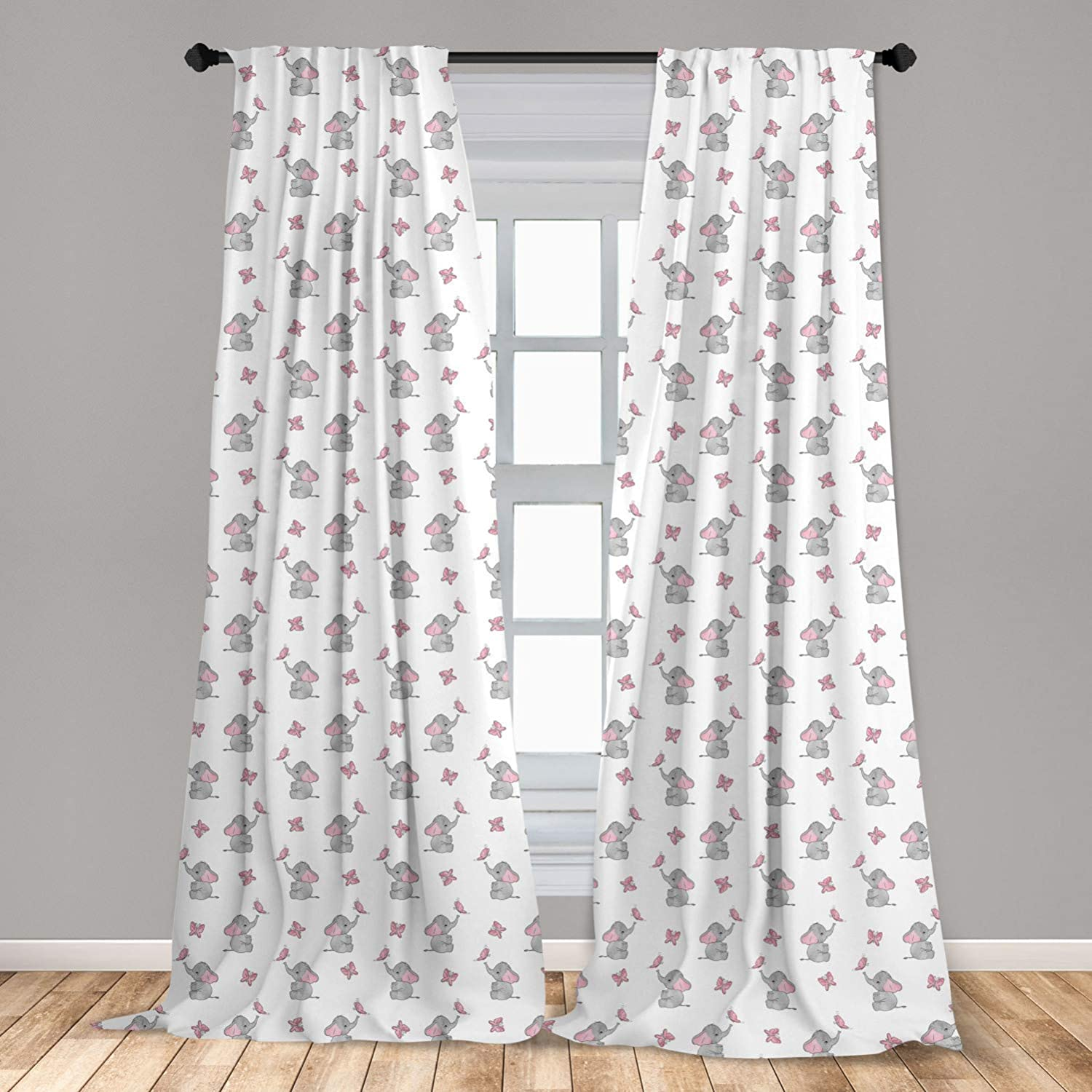 """Ambesonne Elephant Nursery Curtains, Baby Elephants Playing with Butterflies Design Pattern, Window Treatments 2 Panel Set for Living Room Bedroom Decor, 56"""" x 63"""", Grey Pink"""