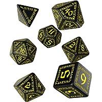Q WORKSHOP Runic Black & Yellow RPG Dice