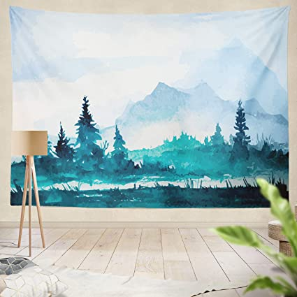 1497582e0 Summor Tapestry Watercolor Mountains Water Color Mountain Watercolor  Landscape Nature Abstract White Sky Hanging Tapestries 60