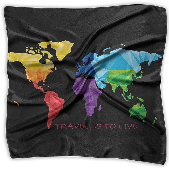 Pizeok Viajar es vivir mapamundi geografía pañuelos cuadrados ...