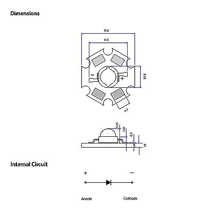 Amarillo 595nm Diodo Emisor de Luz en 20mm placa de circuito impreso PCB 1 x LED Iluminaci/ón del Acuario 1W Componente LED de Alta Potencia Crecen luces y proyectos electr/ónicos