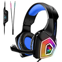 TENSWALL PS4 Auriculares gaming para PS4 o PC, Cascos Gaming con cable y LED, con sistema de control de volumen y cancelación de ruido, color azul